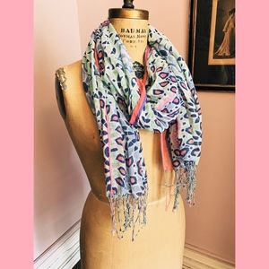 Accessories - Blue + Pink Patterned Lightweight Silk Scarf